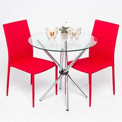Evdebiz Mars 2 Sandalye 1 Masa Mutfak Masa Seti- Kırmızı