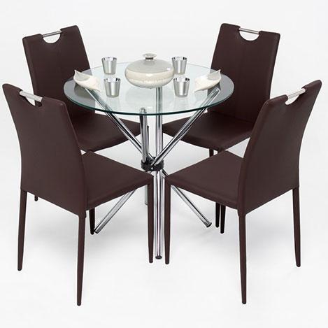 Evdebiz Mocha 4 Sandalye 1 Masa Mutfak Masa Seti - Kahve