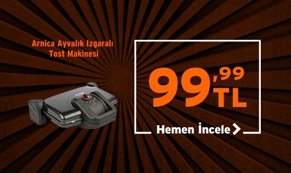 Arnica 3000 Ayvalık Izgaralı Tost Makinesi 99,99 TL
