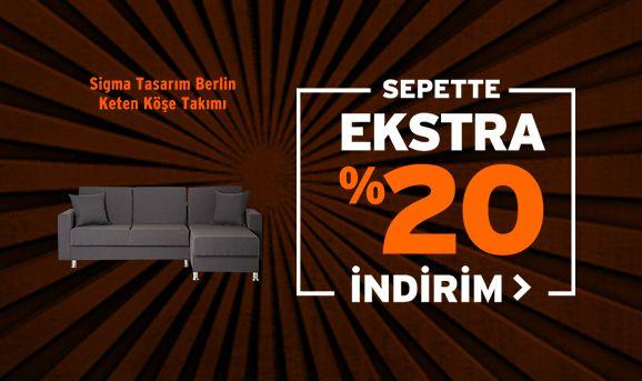 Sigma Tasarım Berlin Keten Köşe Takımı Sepette %20 İndirim