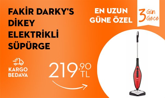 Fakir Darky's Dikey Elektrikli Süpürge 219,90 TL
