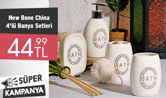 New Bone China 4'lü Banyo Setleri 44,99 TL