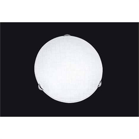 Resim  Hasır Tekli Orta Boy Desenli Beyaz Camlı Krom Gövdeli Modern Tavan Armatürü