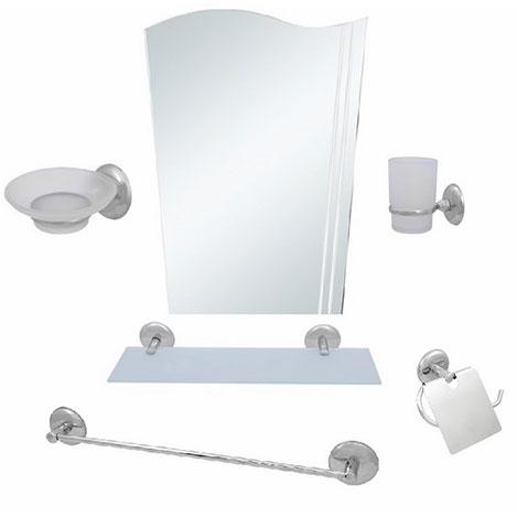 Resim  Alper Banyo No:22 6'lı Uzun Havluluklu Bayrak Aynalı Banyo Seti
