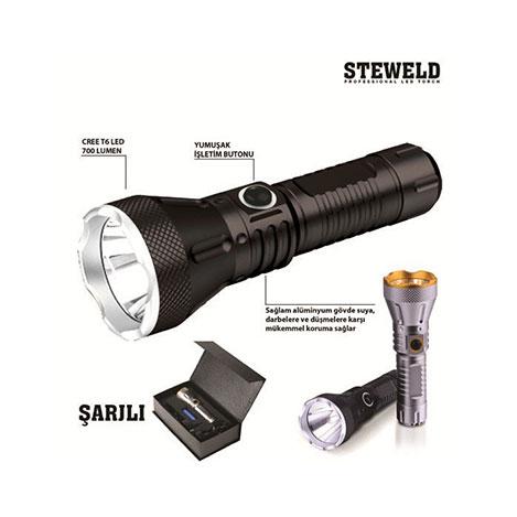 Steweld 608B Pro 700 Lümen Şarjlı Led El Feneri - Siyah