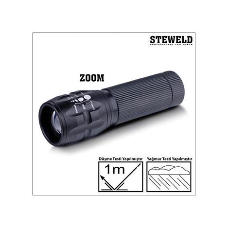 Steweld 622B Alüminyum Teleskopik Zoomlu Led El Feneri