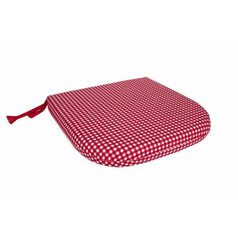 Aliz 2'li Sandalye Minderi 35x37 cm - Kırmızı Kareli