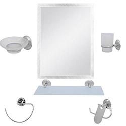 Alper Banyo 01 6'lı Kare G-Havluluklu Aynalı Banyo Seti