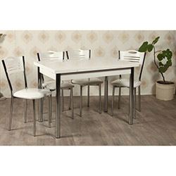 Kristal TK-24-BYZ/4 Yemek Masası Takımı (4 Sandalyeli) - Beyaz