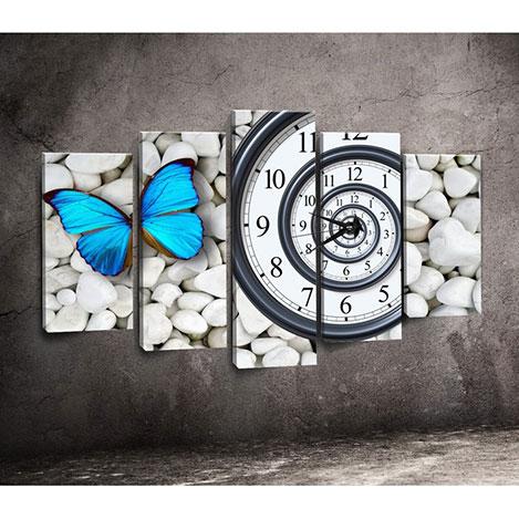 Resim  Canvastime TMG14 Canvas Tablo Saat - 5 Parçalı