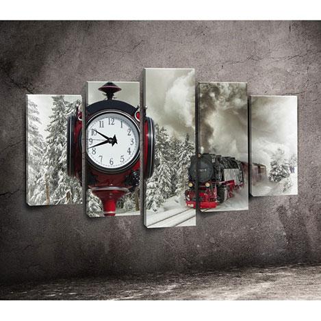 Canvastime TMG104 Canvas Tablo Saat - 5 Parçalı