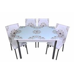 Kristal TK-36/4 Halı Desenli Yemek Masası Takımı (4 Sandalyeli) - Beyaz
