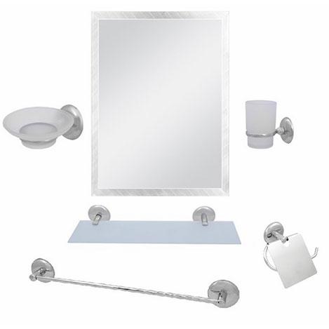 Alper Banyo Kare Model 6'lı Uzun Havluluklu Banyo Seti