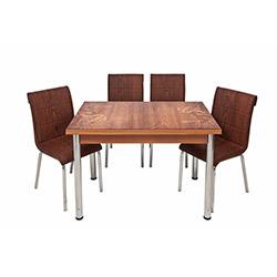 Kristal TK-66/4 Çiçekli Yandan Açılır Masa Takımı (4 Sandalyeli) - Ceviz / Kahverengi