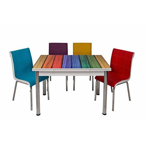 Kristal TK-68/4 Ahşap Yandan Açılır Masa Takımı (4 Sandalyeli) - Renkli