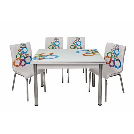 Kristal TK-69/4 Olimpiyat Desenli Yandan Açılır Masa Takımı (4 Sandalyeli) - Beyaz / Renkli