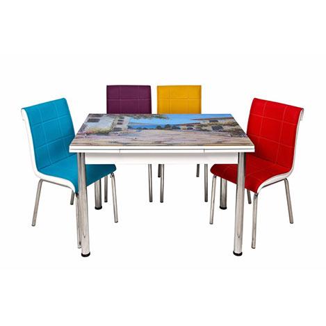 Kristal TK-70/4 Yağlı Boya Manzaralı Yandan Açılır Masa Takımı (4 Sandalyeli) - Renkli