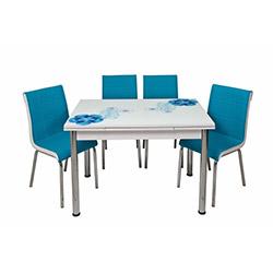 Kristal TK-73/4 Mavi Rüya Yandan Açılır Masa Takımı (4 Sandalyeli) - Mavi / Beyaz