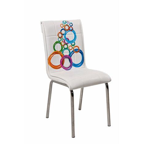 Resim  Kristal P-46 Monopetli Olimpiyat Desen Sandalye - Beyaz / Renkli