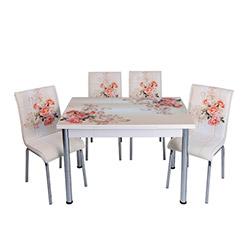 Kristal TK-13/6 Gülpembe Yandan Açılır Masa Takımı (6 Sandalyeli) - Beyaz / Renkli