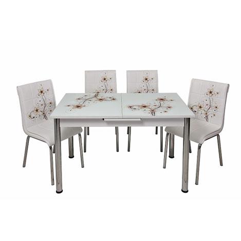 Kristal TK-85/4 Sümbül Ortadan Açılır Cam Masa Takımı (4 Sandalyeli) - Beyaz / Kahverengi