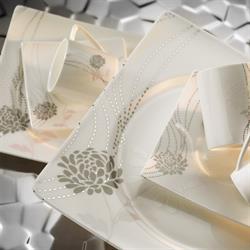 Kütahya Porselen Square Bone 84 Parça 65102 Desenli Yemek Takımı