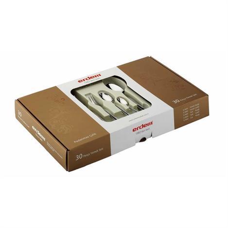 Resim  Erdem 30 Parça Girit Çay Kaşıklı Çatal Kaşık Seti - 4 mm