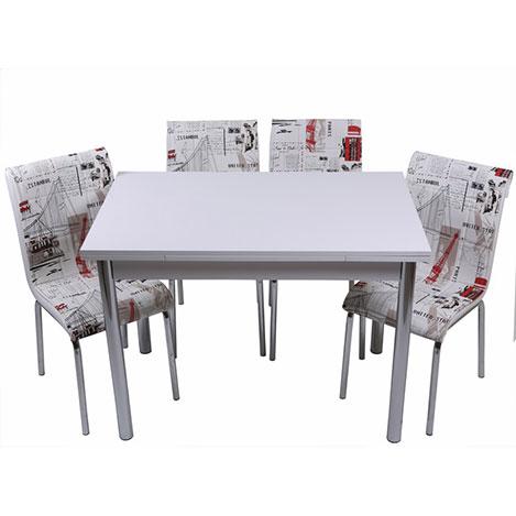 Kristal Yeni Dünya Monopetli 6 Sandalyeli Yandan Açılır Masa Takımı (70x110) - Beyaz