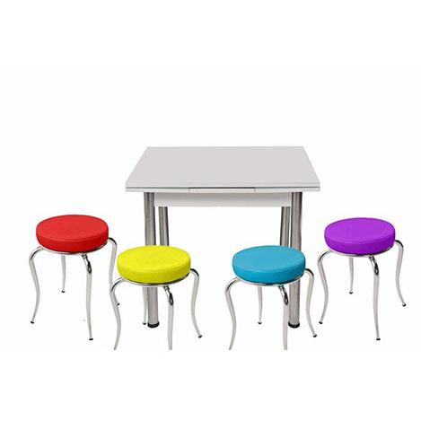 Kristal Dört Renk 4 Tabure Yandan Açılır Masa Takımı (60x90) - Beyaz