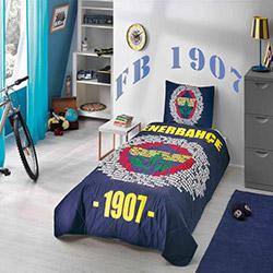 Taç Lisanslı Fenerbahçe Marşlı Ranforce Tek Kişilik Yatak Örtüsü Takımı