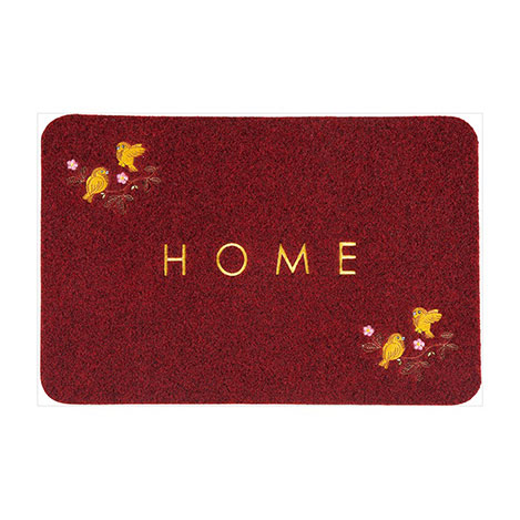 Resim  Giz Home Kuş Nakışlı Brode Kapı Paspası (Kırmızı) - 40x60 cm