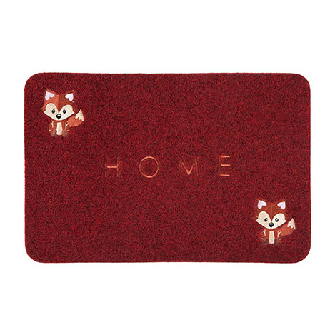 Giz Home Tilki Nakışlı Brode Kapı Paspası (Kırmızı) - 40x60 cm