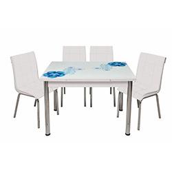Kristal Monopetli 6 Sandalyeli Mavi Rüya Yandan Açılır Cam Masa - Beyaz