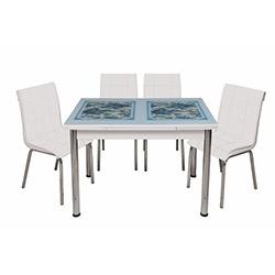 Kristal Monopetli 4 Sandalyeli Mavi Çiçek Yandan Açılır Cam Masa - Beyaz