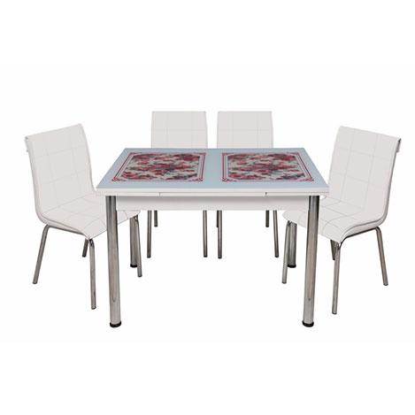 Kristal Monopetli 4 Sandalyeli Kırmızı Çiçek Yandan Açılır Cam Masa - Beyaz