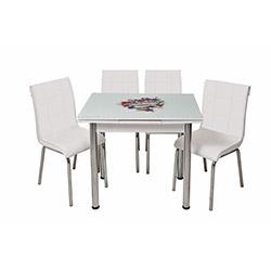 Kristal Monopetli 4 Sandalyeli Yandan Açılır Puantiye Çiçek Masa (60x90) - Beyaz