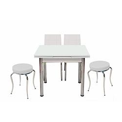 Kristal Monopetli 2 Sandalyeli 2 Tabure 60x90 Yandan Masa (60x90) - Beyaz