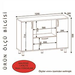 Derya Dekor Pietro Çok Amaçlı Fırın Dolabı - Beyaz / Kırmızı