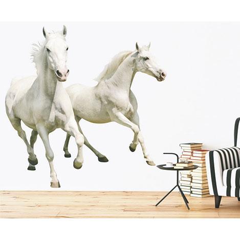 Supersticx Dew16 Beyaz Atlar Duvar Sticker - 130x125 cm
