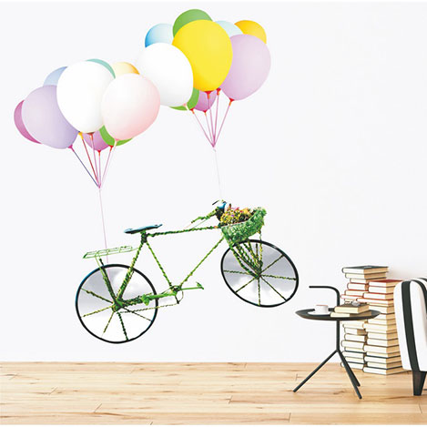 Supersticx Dew44 Bisiklet ve Balonlar Duvar Sticker - 130x115 cm