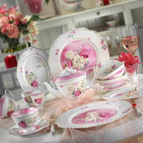 Kütahya Porselen 38 Parça Bone China 21100 Desen Kahvaltı Takımı