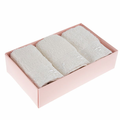 Cotton Box 3'lü Güpürlü Havlu Seti - Krem