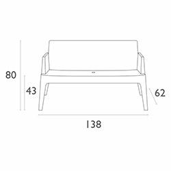 Siesta Box Sofa İkili Koltuk - Koyu Gri