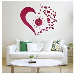 Patrix Kalp Tasarımlı Duvara Yapışan Saat - 20,5x20,5 cm