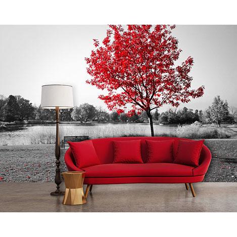 Resim  Artmodel Kızıl Ağaç Manzaralı Poster Duvar Kağıdı - 390x270 cm