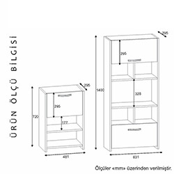 Derya Dekor Kod-12 Albina Çok Amaçlı Dolap - Beyaz / Ceviz