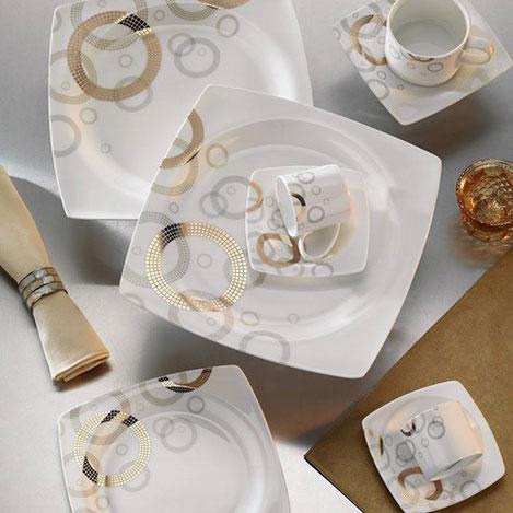 Kütahya Porselen Aliza Bone 12 Kişilik 83 Parça 35101 Desenli Yemek Takımı