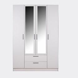 House Line Rumi 4 Kapılı 2 Çekmeceli Aynalı Gardırop - Beyaz