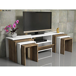 House Line Zygo 6 Zigon Sehpalı Tv Ünitesi - Ceviz / Beyaz