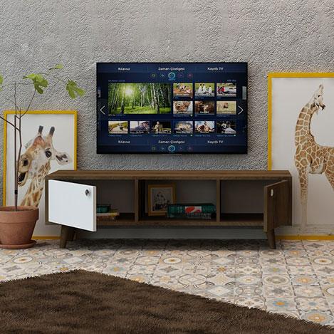 Resim  Fly 2 Kapaklı Orta Raflı Tv Ünitesi - Kafkas Meşe / Beyaz